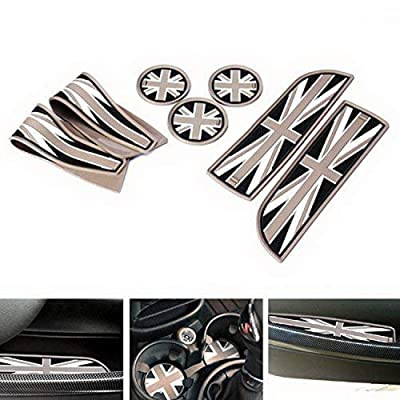 iJDMTOY Union Jack Style Silicone Interior Cabin Mats Compatible With MINI Cooper R55 R56 R57 R58 R59, 7-Piece Black/Grey Cupholder Coasters, Side Door Compartment Liners: Automotive