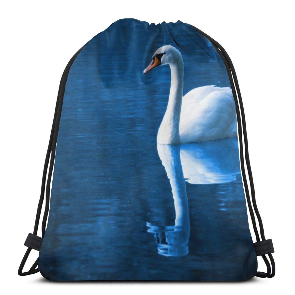 Beautiful Bird Swan Reflections Print Drawstring Backpack Rucksack Shoulder Bags Gym Bag for Adult Child 16.9x14.1 Accessories