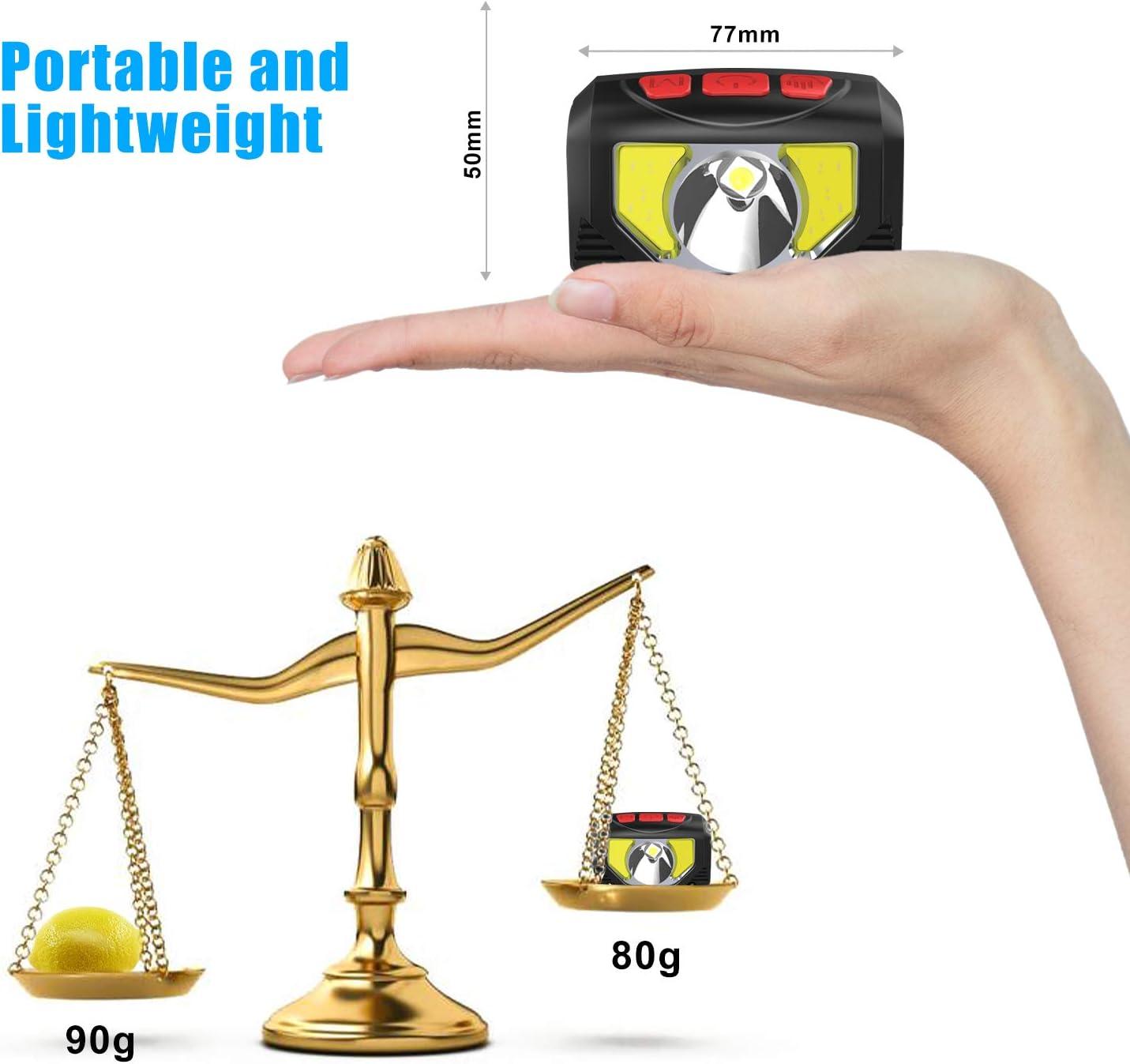 la randonn/ée Anecity Lampe Frontale LED Rechargeable par USB Super Lumineuse 1000 lumens COB LED 80 g Le Camping Lampe Frontale avec capteur de Mouvement /étanche IPX5 pour la Course lescalade