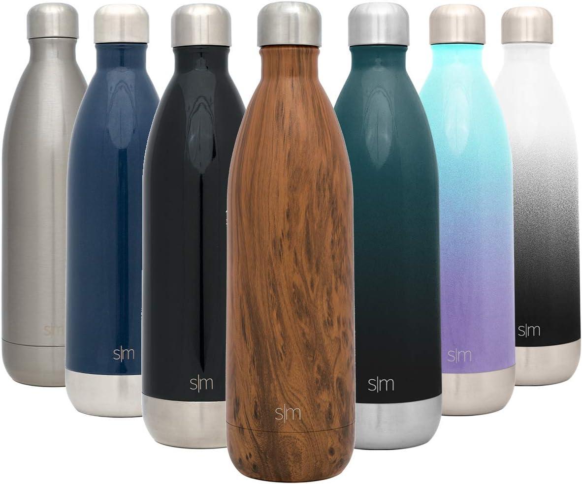 Simple Modern Wave 1000ml Termo Botella de Agua Acero Inoxidable, Botella termica sin BPA Mantiene el Temperatura Aislada al Vacío Doble Pared para Deporte café o viaje Diseño: Grano de Madera