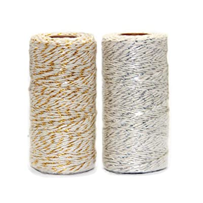 Ewparts 2 Roll Christmas Wrapping Twine, Gold Wire Combined Cotton Twine Cording for Christmas, DIY Arts Threading Decorations, Baking 100M/328Feet Each Roll (Gold&White, 2MM): Health & Personal Care