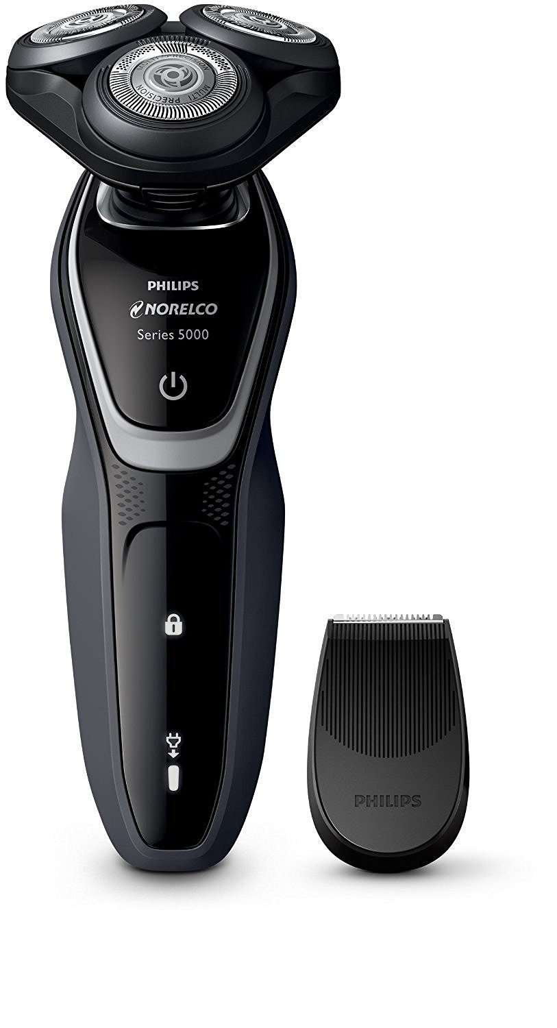 Philips Norelco WATERPROOF Electric Shaver and Beard Trimmer with BONUS FREE Jet Cleaning Solution Included