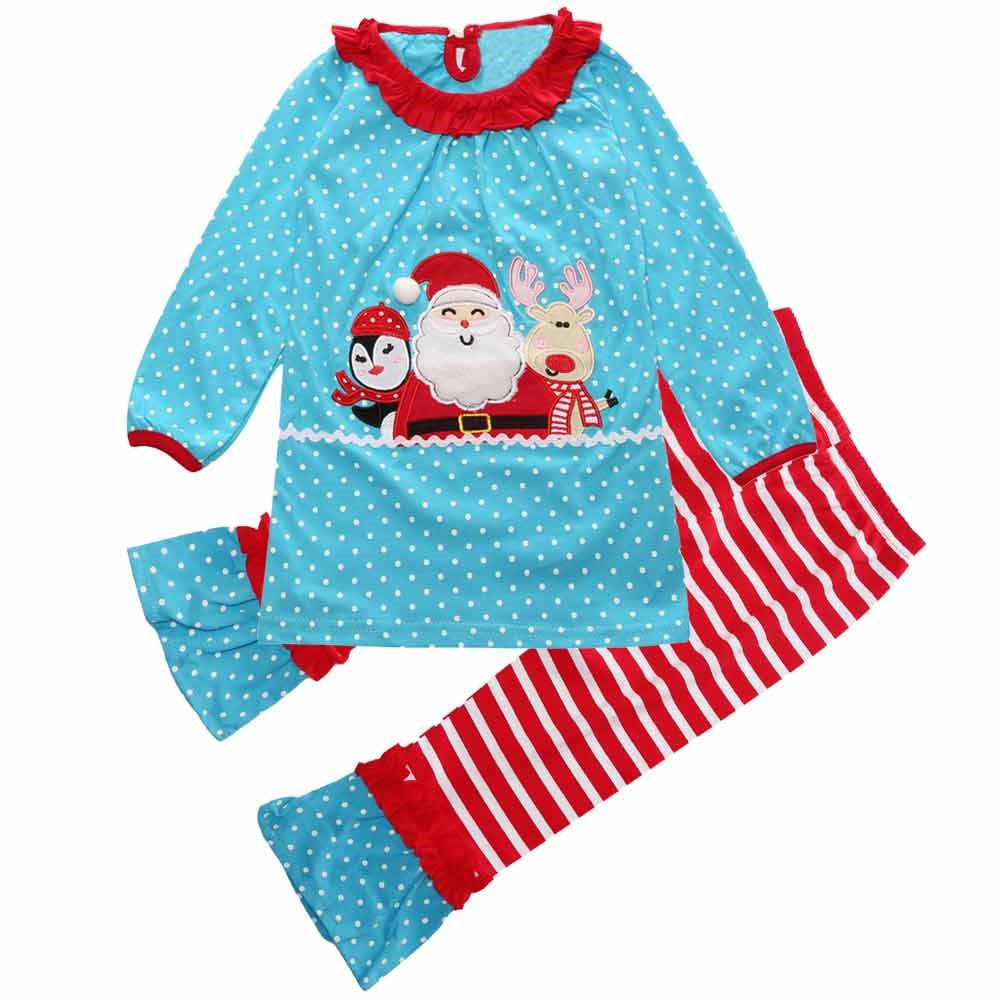 Baby Girls' Christmas Theme Santa Applique Blue Tops and Solid Legging Set Mary ye