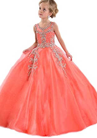 ff96dbec0d68c WZY Little Girls Beaded Kids Party Ball Gown Girls Pageant Dresses 2 US  Orange