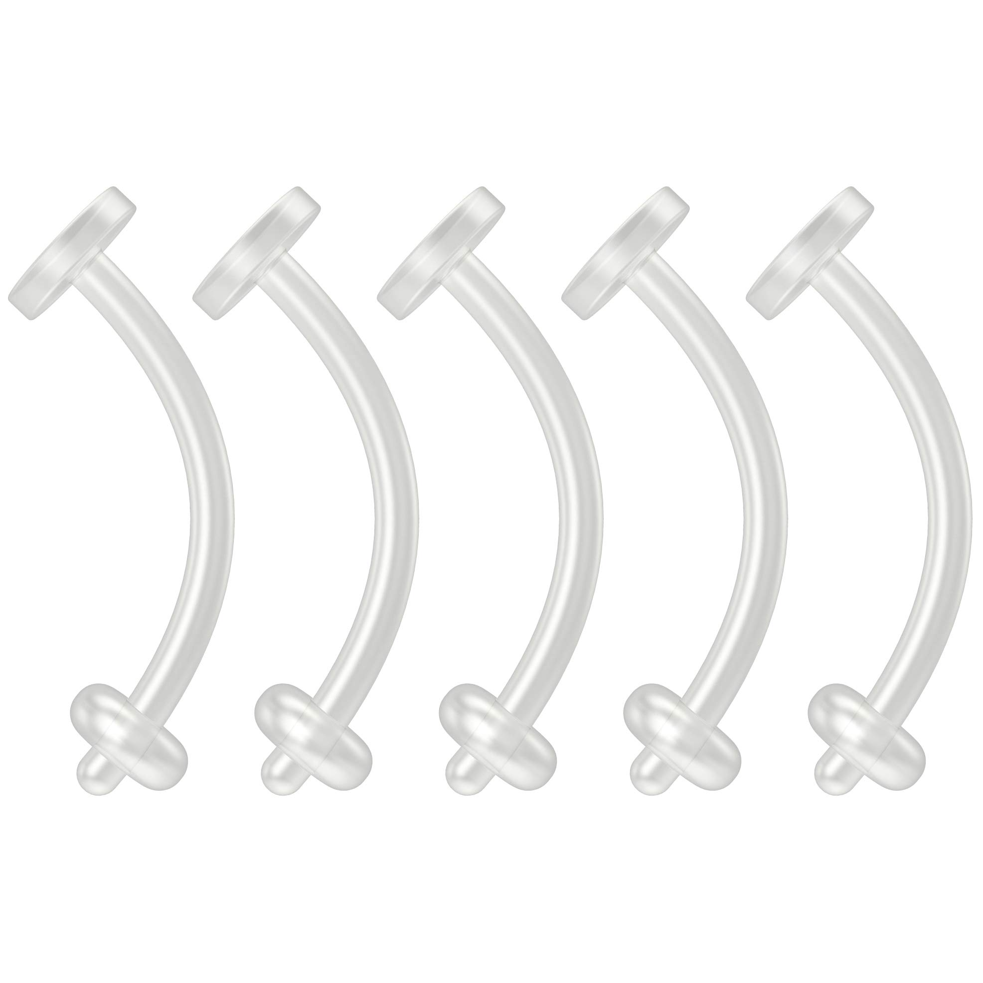 5pc 16g Cartilage Piercing Retainer Flexible Clear BioFlex Curved Barbell Bioplast Piercing 10mm 3/8 by Bling Piercing
