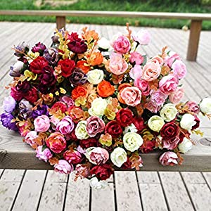 Artificial Rose Petal - 21 Heads Artificial Rose Flowers With Leaves Silk Diy Flower Bouquet Party Favors Wedding Home - Dried Artificial Flowers Artificial Dried Flowers Flower Tree Petal Pink B 111