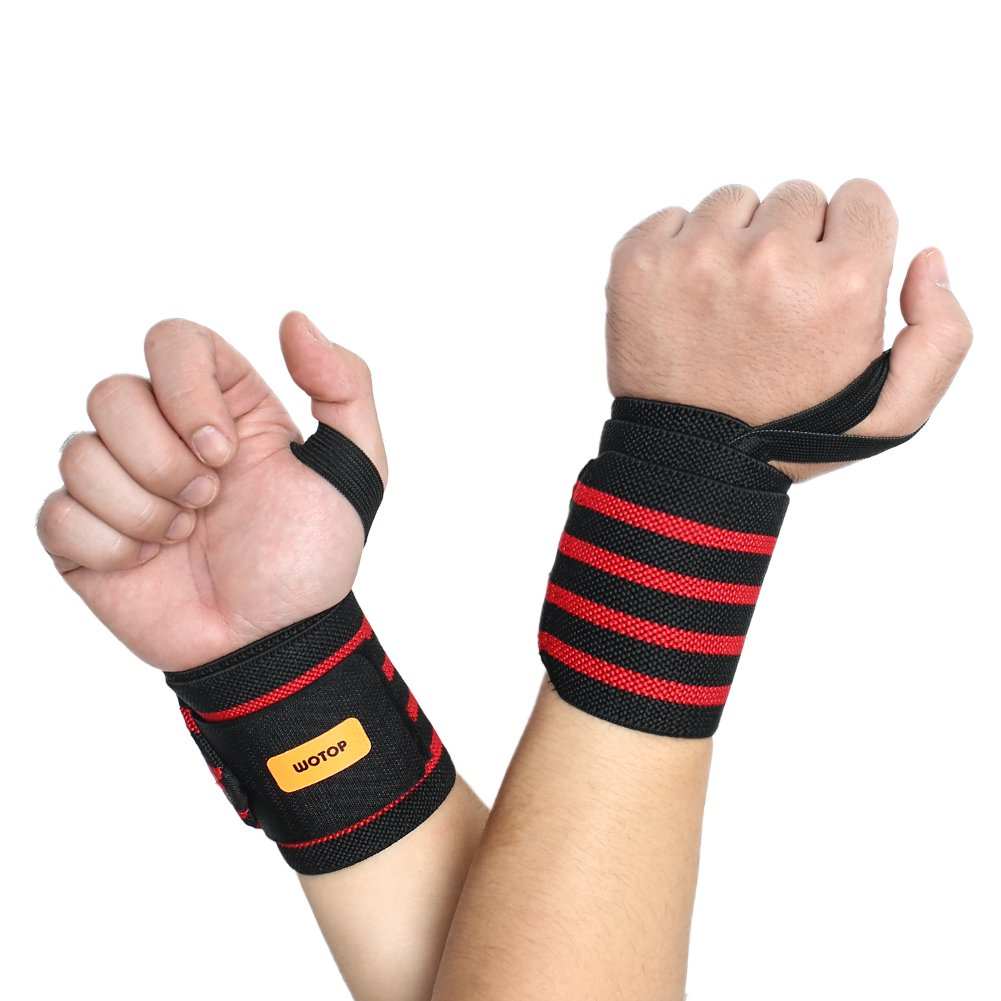 Wrist Wraps Support Straps Braces Belt Protector With Thumb Loops for Powerlifting, Bodybuliding, Weight Lifting, Strength Training, One Size Fits All Men&Women By WOTOP