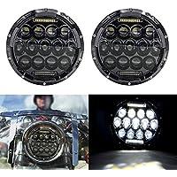 FMtoppeak One Set of 2 Pcs 7inch Round LED Headlight Light Lamp Hummer for 2007-2017 Jeep Wrangler CJ TJ JK Harley