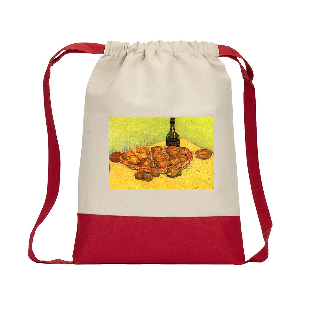 French Novels Glass Rose #1 (Van Gogh) Canvas Backpack Color Drawstring - Red