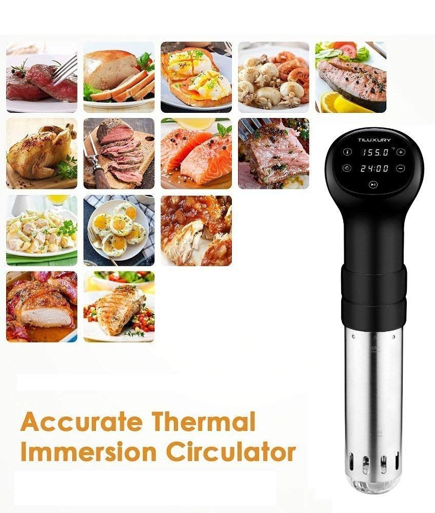 Precise Immersion Circulator Sous Vide Cooker, LCD Touch Screen, Accurate Time and Temperature Control, 800 Watts, Durable Stainless Steel Stick, Ultra Quiet, Black by US PIEDLE (Image #6)