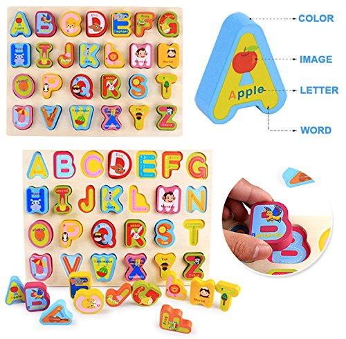AUGSEP Kid's Wooden Learning Puzzle Play Set, Alphabet, ABC, Learning Toy Gifts for Age 1, 2, 3, 4, 5 Year Olds Toddlers Baby Boy Girl