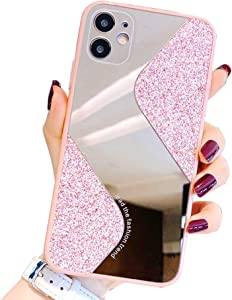 Ownest Compatible with iPhone 11 Case,with Camera Cover Protection,for Girls Women Cute Stylish with Glitter Mirror TPU PC Back Silicone Slim Bling Shiny Case for iPhone 11-Pink