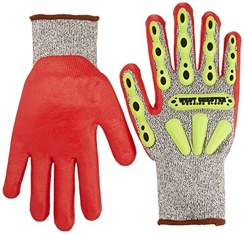 West Chester 713SNTPRG L R2 FLX Protection Gloves, Large, Red