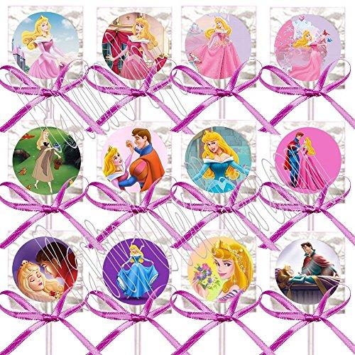 Sleeping Beauty Party Favors Supplies Decorations Disney Princess Aurora Lollipops w/ Fuchsia Bows Favors -12 -