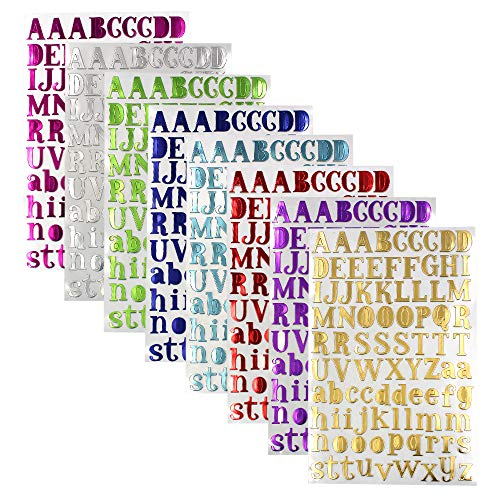 Shiny Silver Letter - M-Aimee 8 Color Shiny Letter Gift Alphabet Sticker Self Adhesive Letters