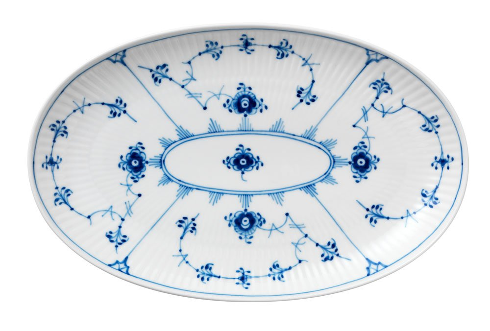 Blue Fluted Plain Oval Accent Dish