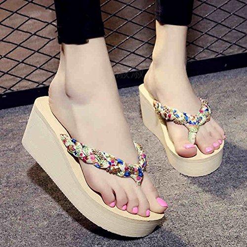 marrón sandalias deslizamiento moda sandalias negro Zapatillas Beige cómodo de tacón Chanclas de alto de sandalias MEIDUO beige 6wqn5Tg