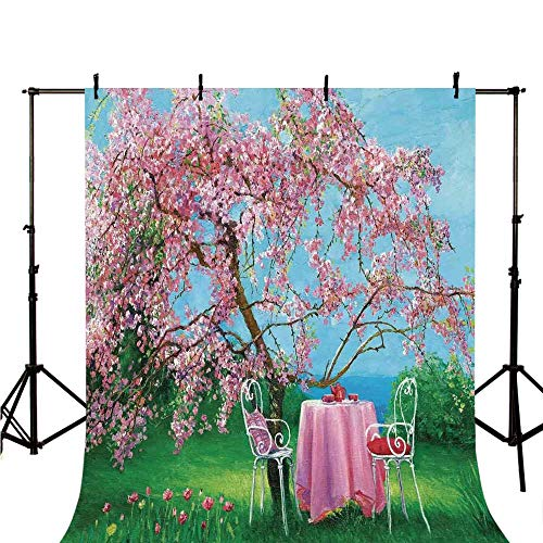 - Rustic Stylish Backdrop,Tea Time Theme Vintage Chairs Plum Tree Spring Garden Painting for Photography,118