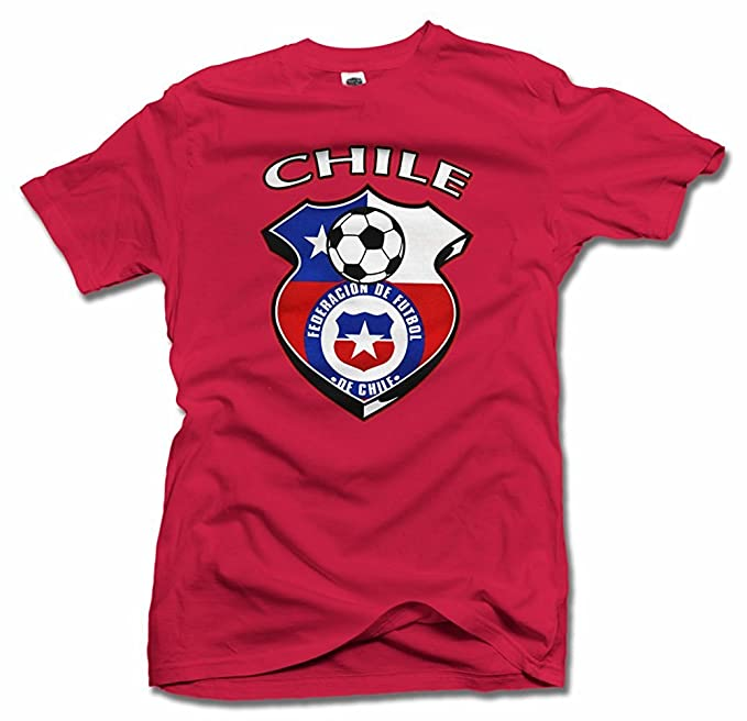 Chile escudo rojo Futbol camiseta hombres de la T (6.1oz)