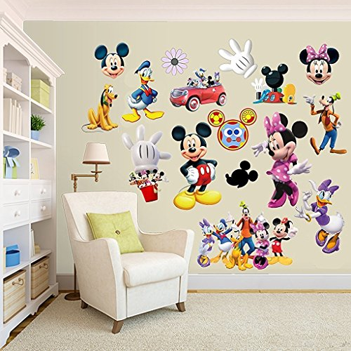 (Mickey Mouse & Minnie Mouse Room Decor Clubhouse Wall Decal Sticker)