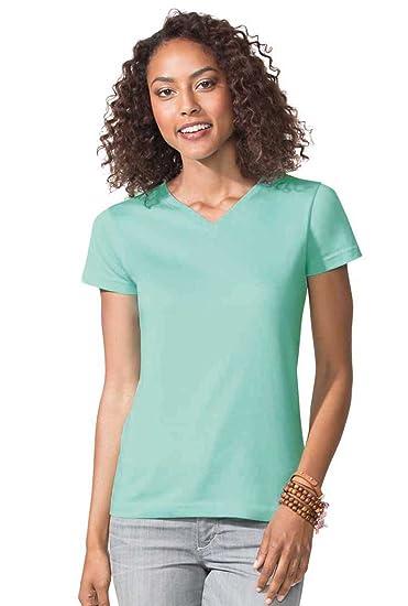 LAT Ladies  100% Cotton Jersey V-Neck Short Sleeve Tee at Amazon Women s  Clothing store  324c9b18d