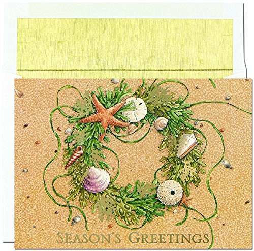 Beautiful Holiday Wreath - Great Papers! Holiday Greeting Card, Beach Wreath, 18 Cards/18 Envelopes, 7.875