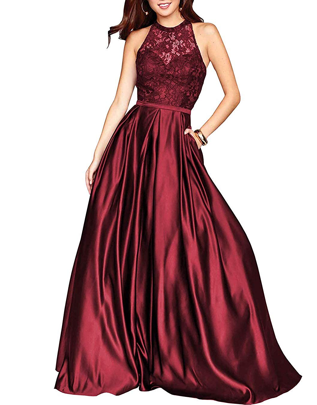 Dark Red PearlBridal Women's Halter Lace Prom Dresses Backless A Line Long Evening Formal Dress with Pockets