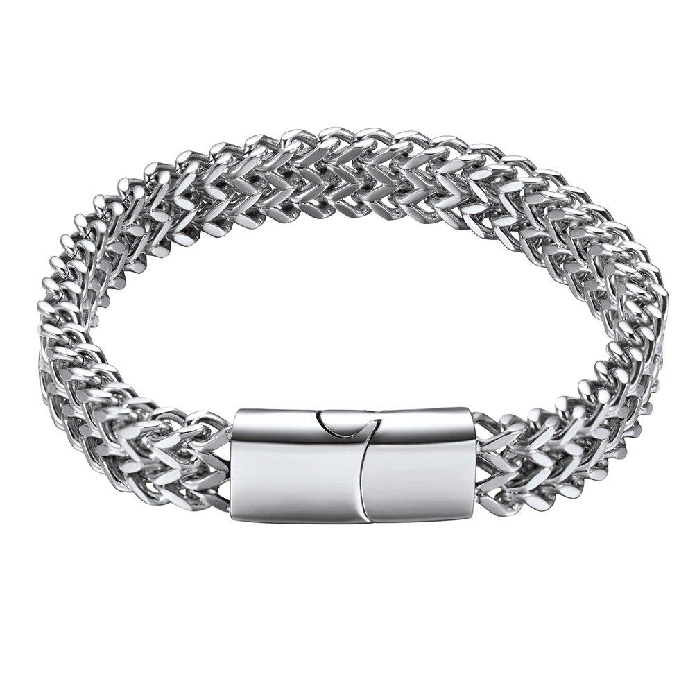 PROSTEEL Foxtail Chain Bracelet for Men, 10MM, 19/21CM, 316L Stainless Steel/Gold Plated/Black Gun Plated (with Gift Box, Velvet) PSH3567H-19-EU