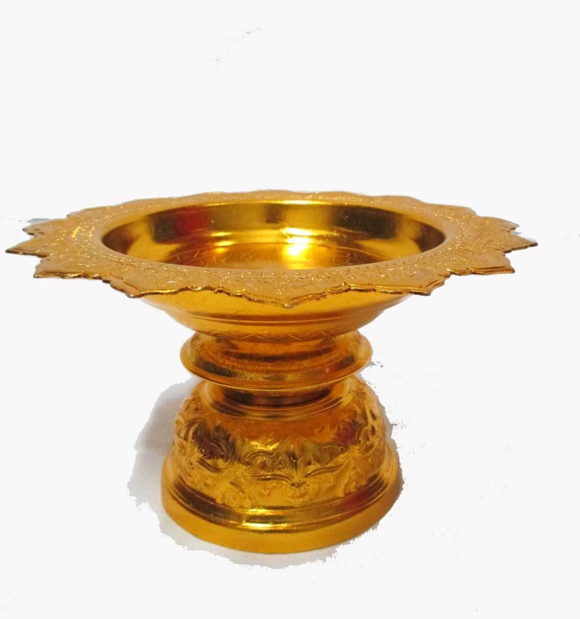 Thai Aluminum Worship Offering Tray with Pedestal to Buddha Altar /W:7'' Gold By amazingmarketonline by amazingmarketonline