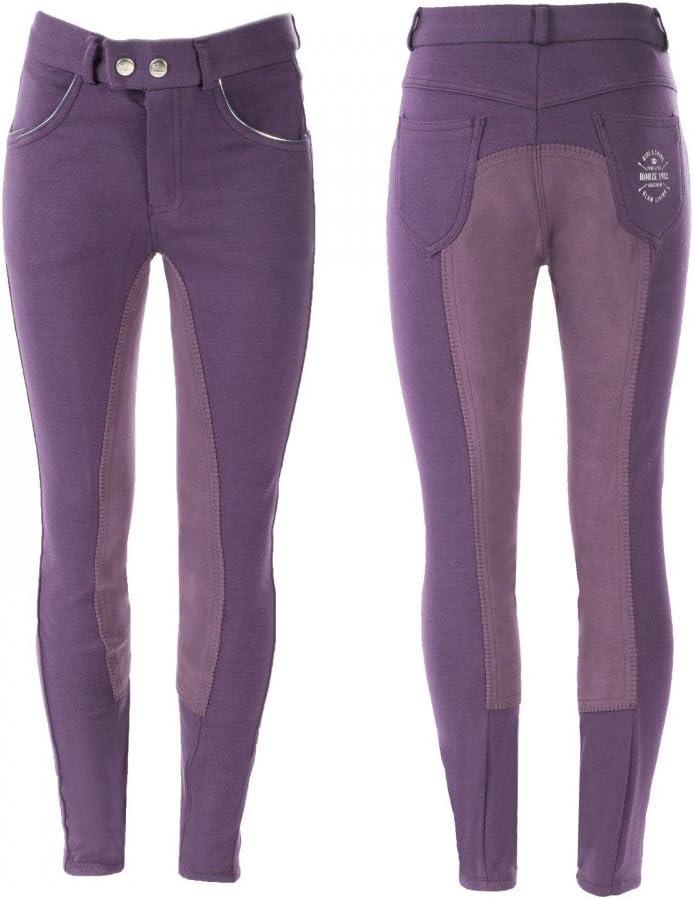 Horze Jen子供用フルシートBreeches Mysterioso 紫の XX-Large