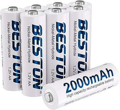 Amazon Com Beston Pack Of 8 Ni Mh Rechargeable Aa Batteries 2000mah High Capacity 1 2v Low Self Discharge Rechargeable Aa Battery Electronics