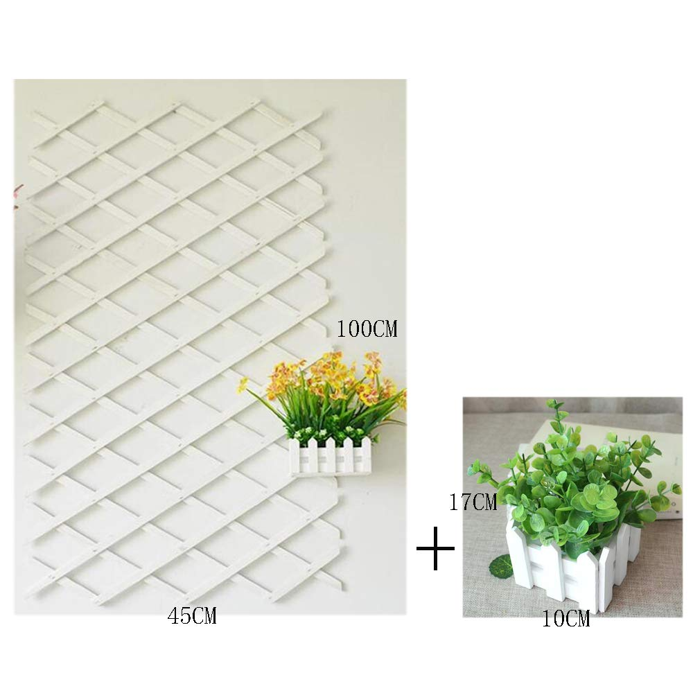Expanding Fence Garden Screen Trellis Adjustable Shrink 10045cm Flower Vegetables Obstacle Frame Outdoor Climbing Plant Expansion Trellis (Include Artificial Flowers),B,15052cm