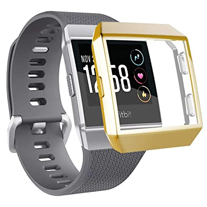 Compatible with Fitbit Ionic Watch Plated Case, All-Around Full Front Screen Protector Soft Plating TPU Covers Smartwatch High Defination for Fitbit ...