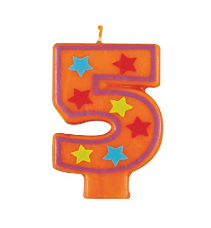 Unique Industries Decorative Stars Number 5 Birthday Candle