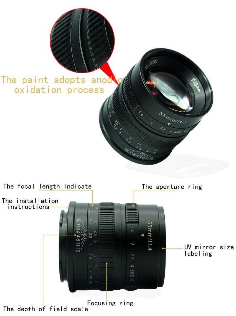 X-Pro1 X-T1 X-E2/y Gamuza de tuyung X-T10 7/Artesanos 55/mm F1.4/Gran Apertura Micro c/ámara de Enfoque Manual Retrato Lente para c/ámaras Fuji.: x-at X-E1 X-A2 XM2/x-t2 X-M1 X-A1