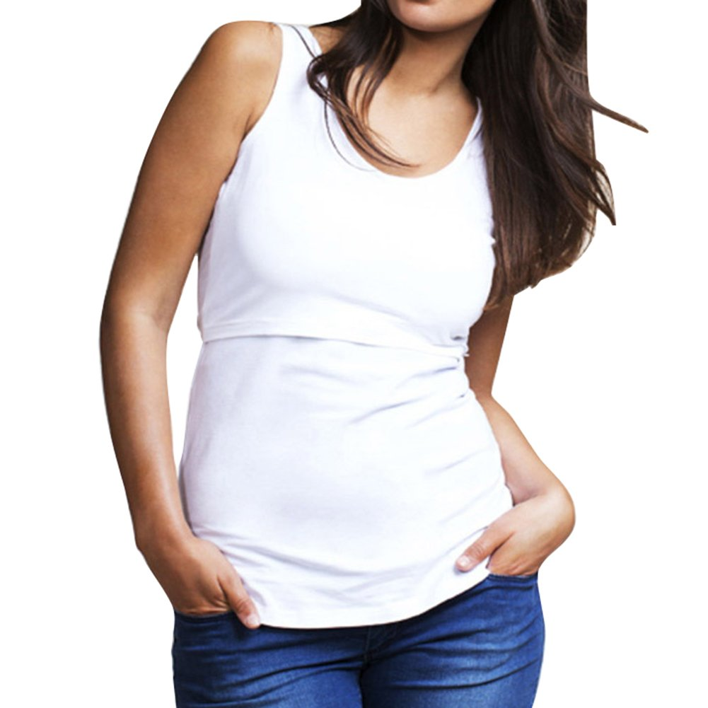 juqilu Plus Size Breastfeeding Shirt Women's Scoop Neck Sleeveless Nursing Layered T-Shirt Maternity Stretch Vest Top Tee B180507MV3-lu