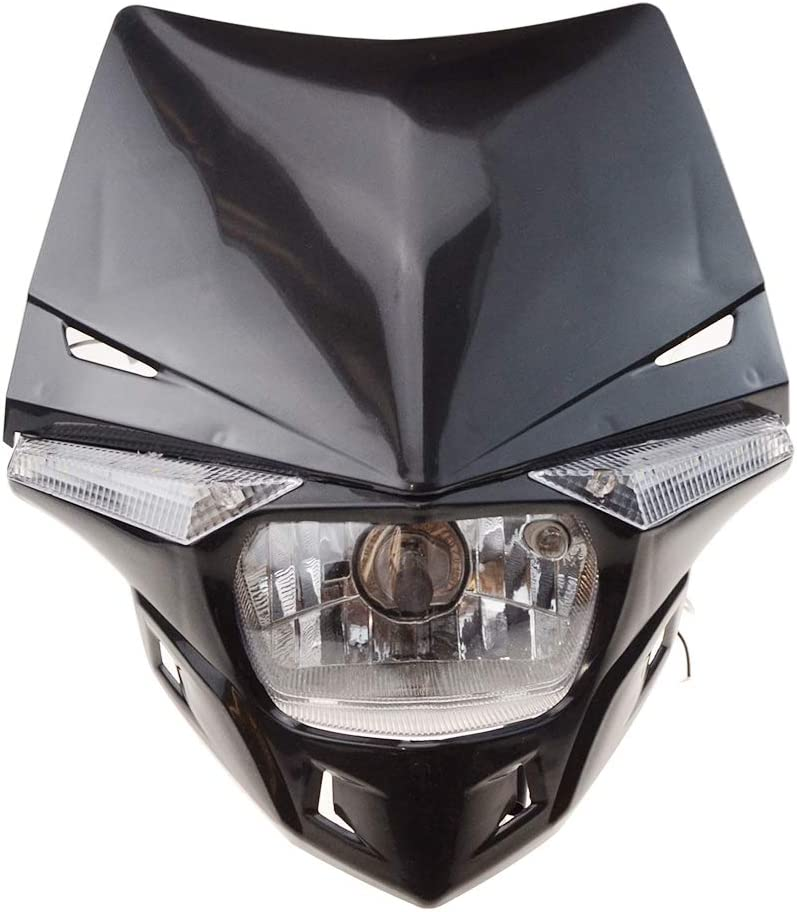 GOOFIT rouge 12V 35W H4 /Éclairage Phares avantCouvercle Halog/ène Indicateur Feux Car/énage Motocross Super Moto Lampshade Bicycle Cafe Racer ATV Dirt Bike
