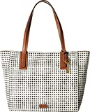 Fossil Emma Tote, Black/White Grid Dot