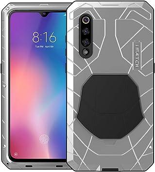 Foluu Xiaomi Mi 9 Funda, Armadura híbrida de Aluminio Metal a Prueba de Golpes Marco de Parachoques Carcasa de Silicona Suave Militar Resistente Carcasa rígida con función Atril para Xiaomi Mi 9: