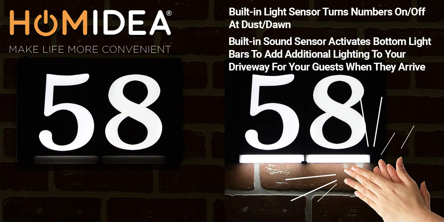 HOMIDEA Backlit Led House Numbers. Light Up House Numbers. Personalized Lighted Address Signs for Houses, Illuminated House Numbers, Address Light Numbers for Houses - Extension Cord (Optional)