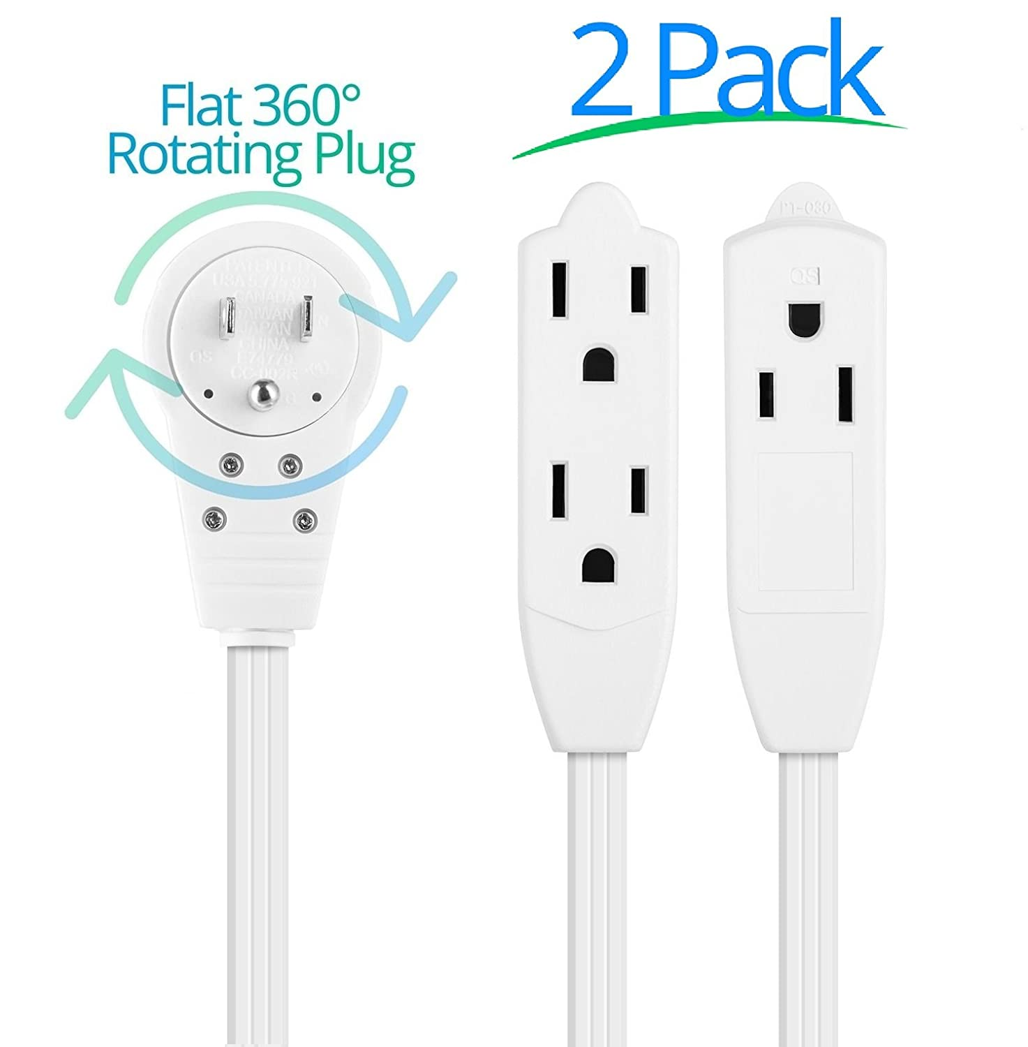 Maximm Cable 6 Ft 360° Rotating Flat Plug Extension Cord/Wire, 16 AWG Multi 3 Outlet Extension Wire, 3 Prong Grounded Wire - White - UL Listed, 2 Pack