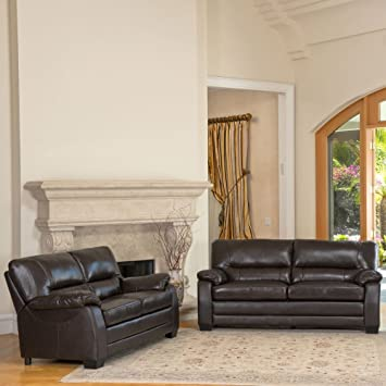 Abbyson Brentwood Leather Loveseat And Sofa Set