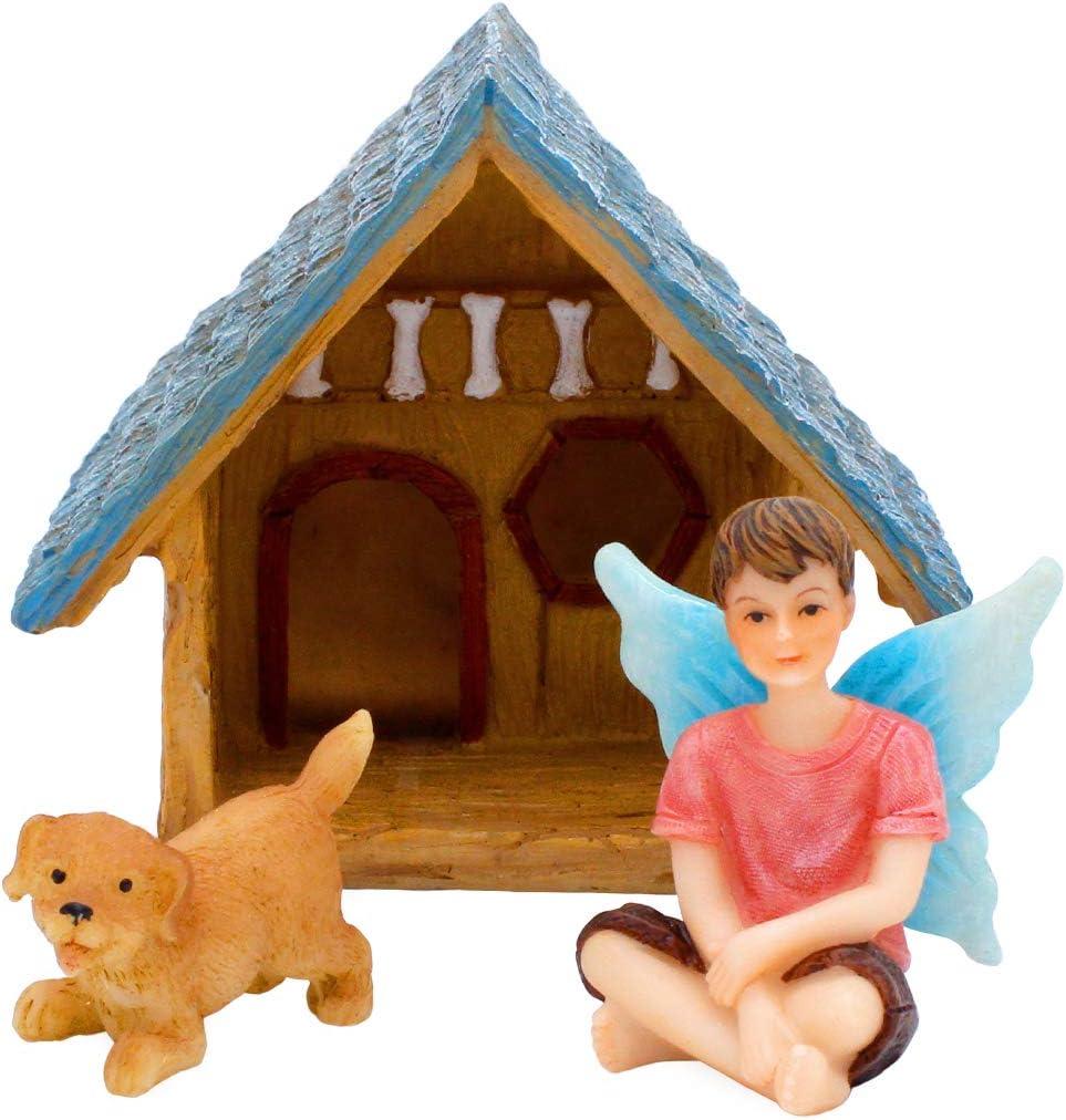 Fairy Garden 3 Piece Set with Fairy Boy, Miniature Puppy Dog and Dog House (Boy's Best Friend)