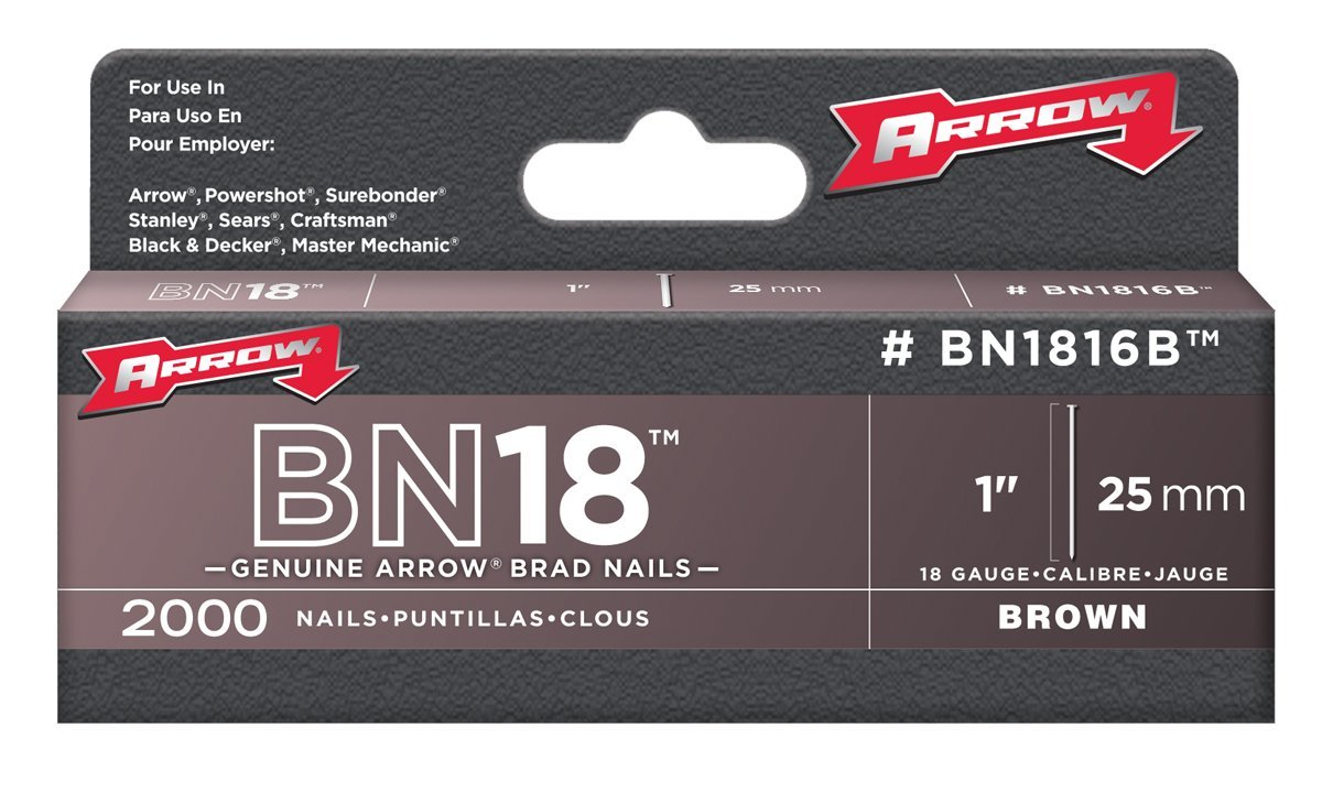 Arrow Fastener BN1816B Genuine 1-Inch, 18-Gauge Brown Brads, 2,000-Pack
