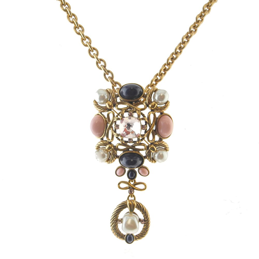 Oscar De La Renta Navy and Blush Neckalce Brooch