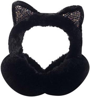 White Black Cat Head Meow Animal Winter Earmuffs Ear Warmers Faux Fur Foldable Plush Outdoor Gift