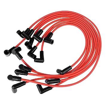 Acfun alambres 31359spark Plug Espiral Core 7 mm Rojo 90º sbc Chevy de Bloque Pequeño v8: Amazon.es: Coche y moto