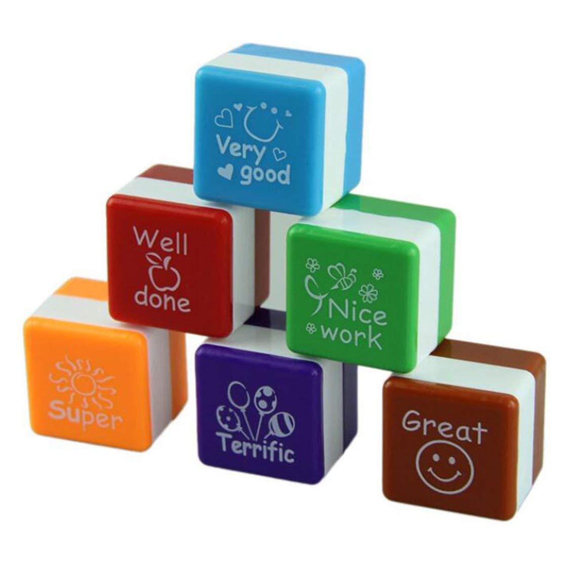 6 Stili / Set Kawaii Simpatici Insegnanti Stampatori Inchiostrazione Lodi Ricompensa Stamps Motivazione Adesivo Materiale Scolastico - 6 Colori Sanzhileg