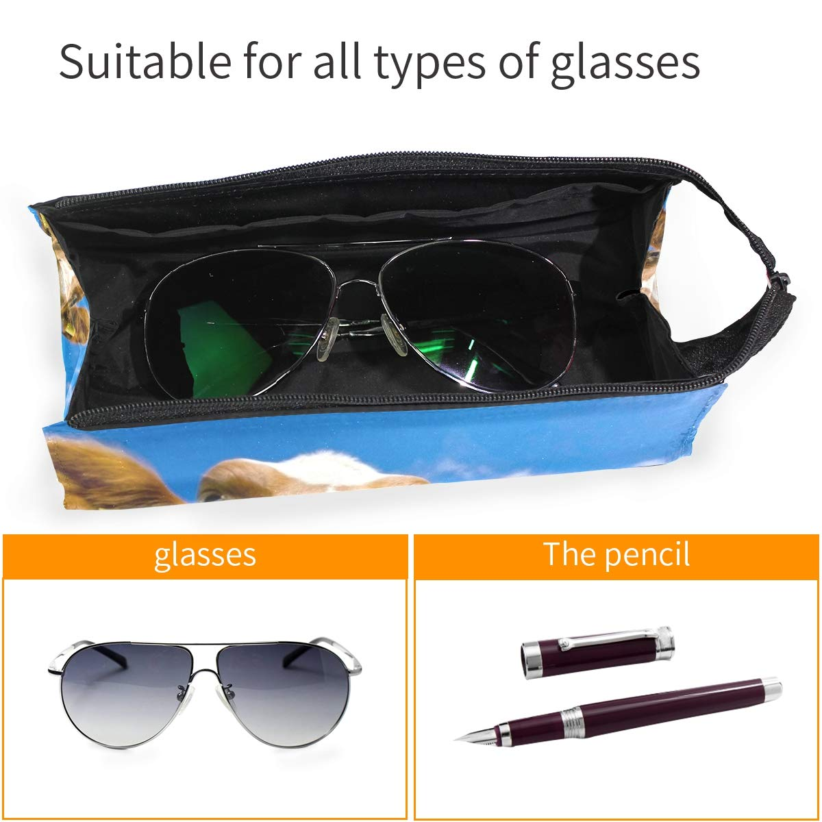 Glasses Case Season Tree Portable Soft Sunglasses Ball Pen Bag Protective Box