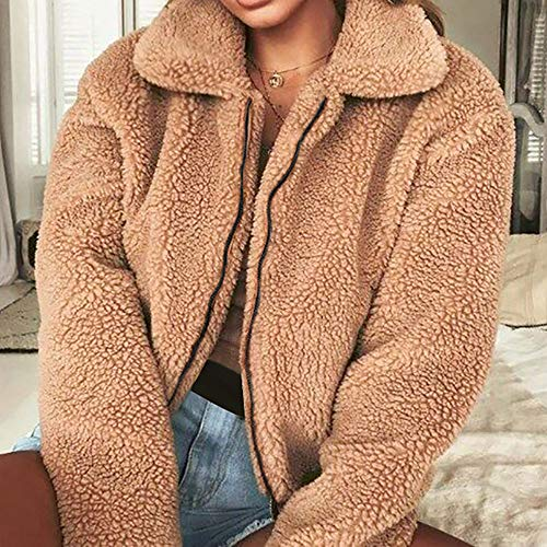 Warm Ladies Women Coats Coats Fleece Outwear Winter Sleeve and Khaki Womens Artificial Wool Long Jacket Coat Zipper Jackets Oversized Damark Tops Overcoat Parka wqxtIE